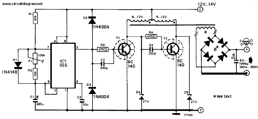 power inverter w, v dc to v ac  schematic design, circuit diagram