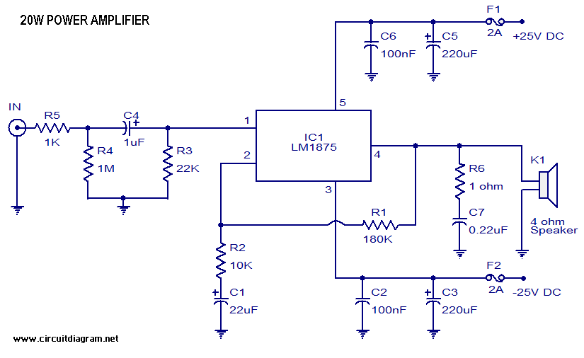 20 Watt Audio Amplifier with LM1875