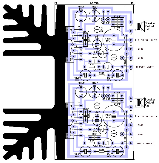 Stereo 20w  lifier Tda2005 Pcb on solar system circuit diagram