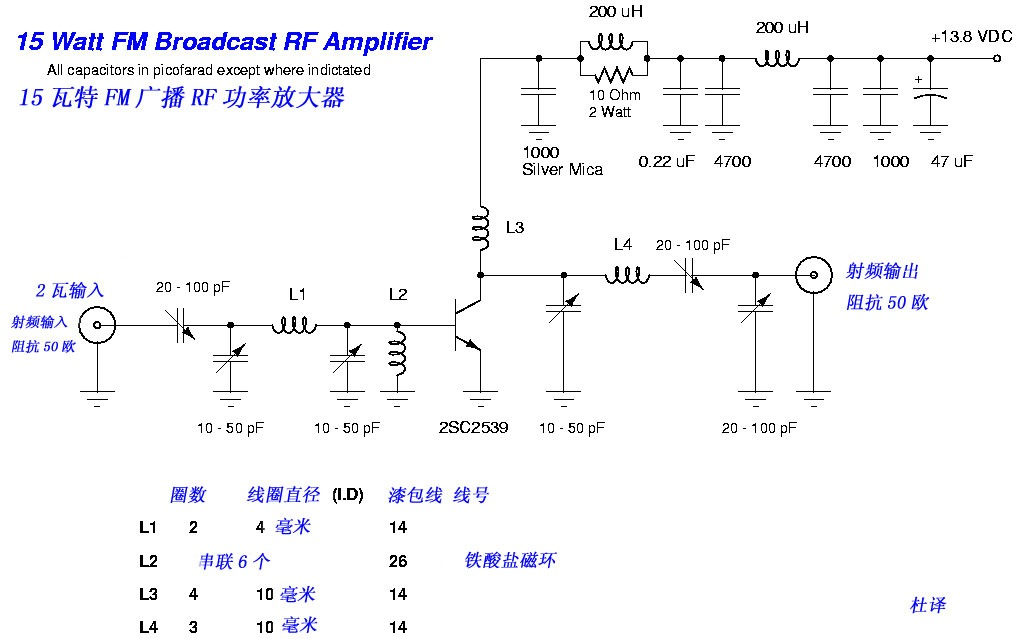 15W FM RF Amplifier with 2SC2539