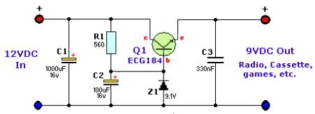 12VDC to 9VDC Converter