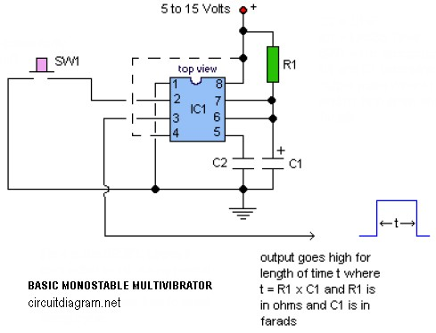 Basic Monostable Multivibrator based IC timer 555