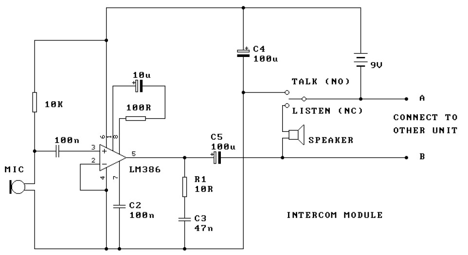 Two Station Intercom based on LM386