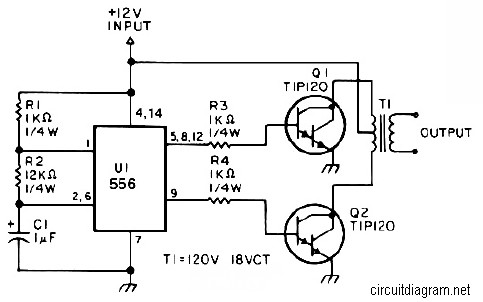 simple inverter 12v dc to 120v ac schematic design ac · 25w low power inverter