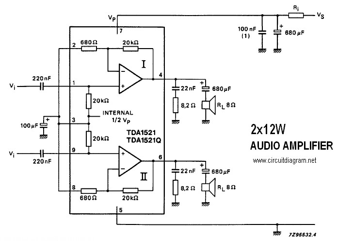 2 x 12W Stereo Amplifier with TDA1521/TDA1521Q