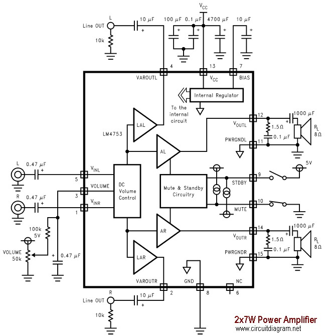 2x7W Audio Amplifier with LM4756
