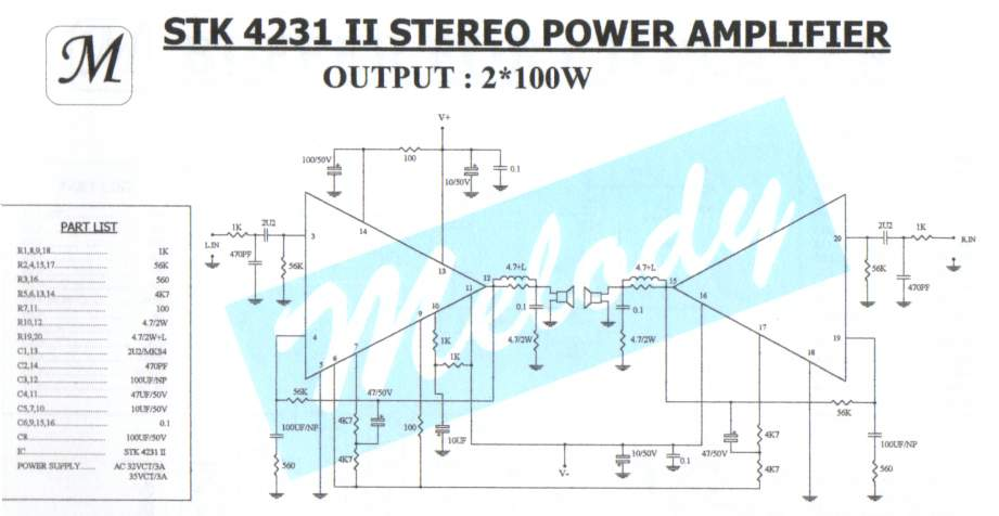 2 x 100W Stereo Power Amplifier with STK4231II