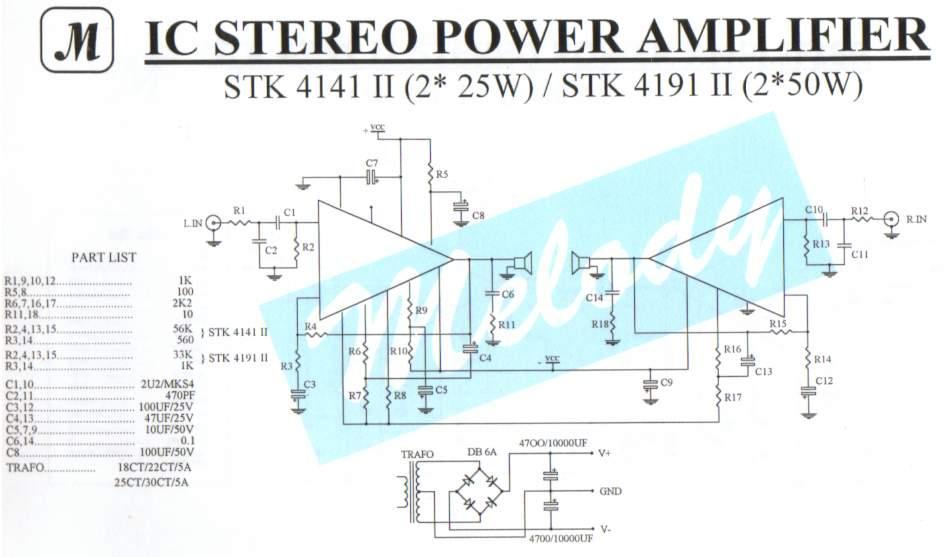 2x25W Stereo Power Amplifier with STK4141II