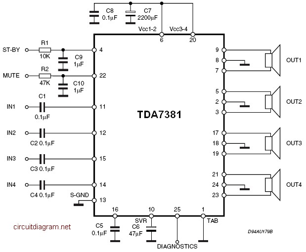 tda  x  w quad audio amplifier   schematic design