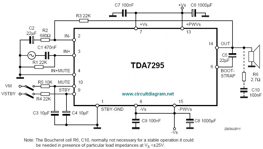 80W Audio Amplifier Using TDA7295