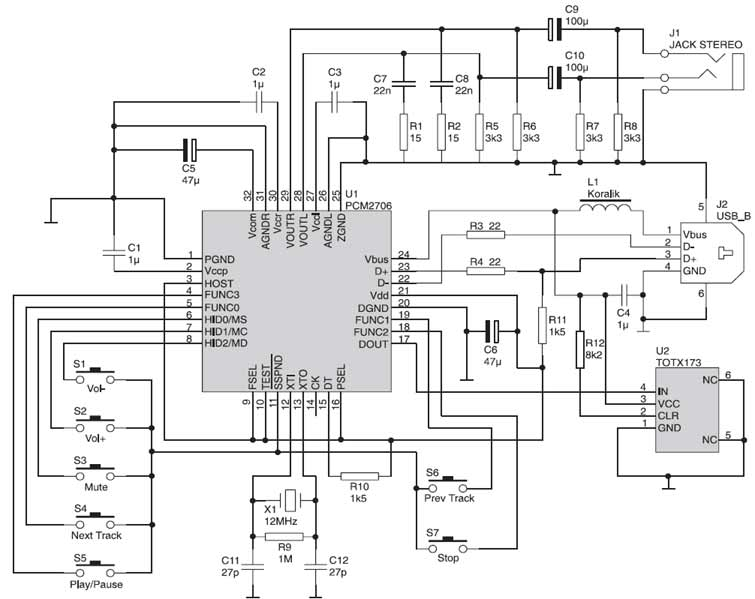 pcm2706 usb sound card schematic design