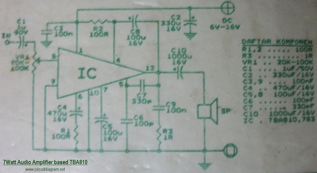 7w Audio Amplifier Based Tba810 Schematic Design