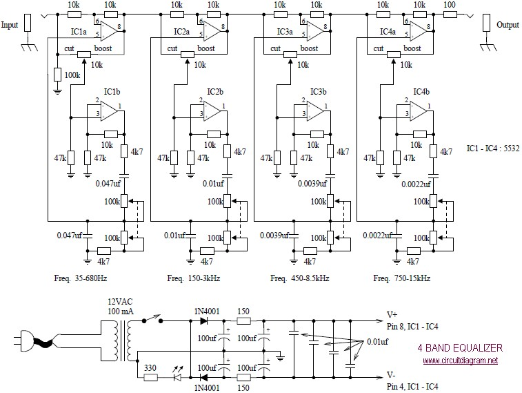 4 Band Equalizer Schematic on amplifier circuit diagram
