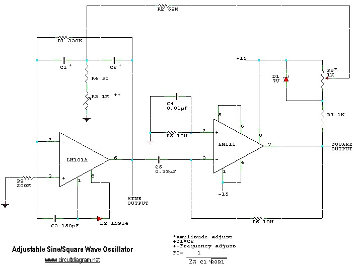 Adjustable Sine/Square Wave Oscillator