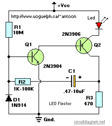 LED Flasher 2-Transistors
