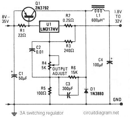3A Switching Voltage Regulator based LM317HV
