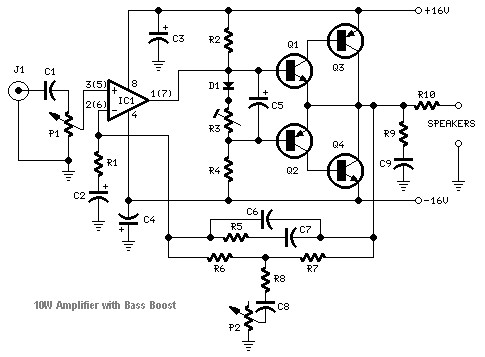 Transistored 10W Audio Amplifier