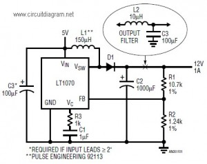 5v to 12v dc boost converter circuit