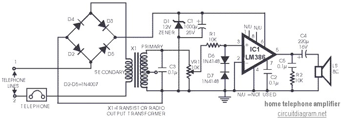 Telephone Amplifier using LM386