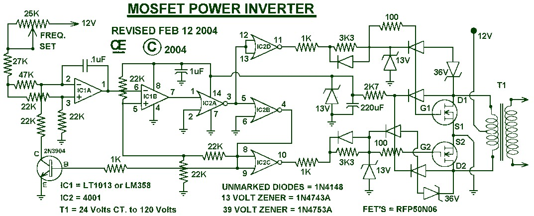 simple inverter 12v dc to 120v ac schematic design 1000w power inverter