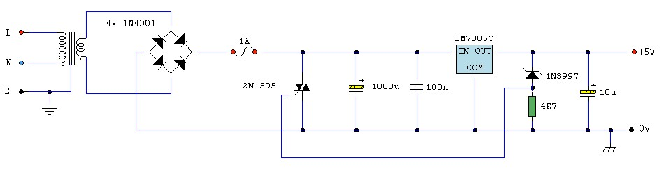 5v regulated power supply with overvoltage protection