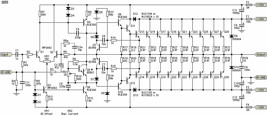 Power Amplifier Circuit Diagram By Rod Elliott The Is Built