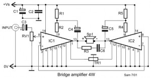 4W Bridge Amplifier using LM388 circuit