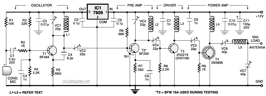 4 Stage FM Transmitter Circuit