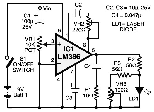 laser communication - transmitter circuit