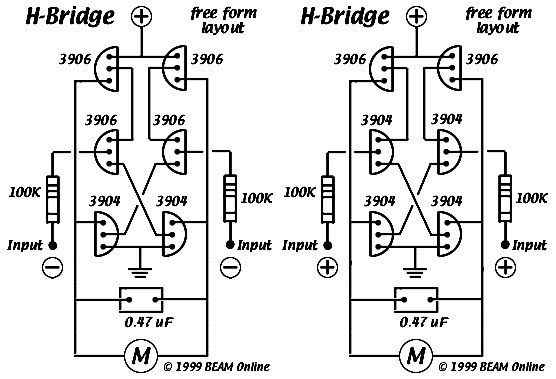 6 transistors tilden h-bridge circuit electronic