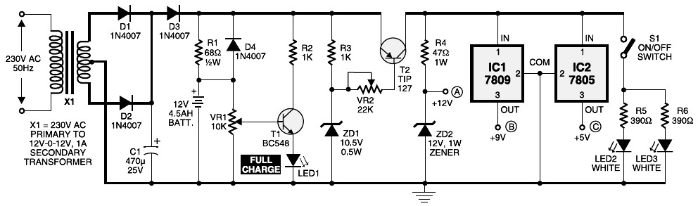 mini ups project  schematic design, wiring diagram