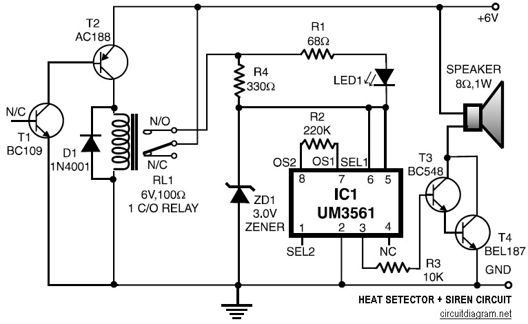 heat detector and siren circuit electronic
