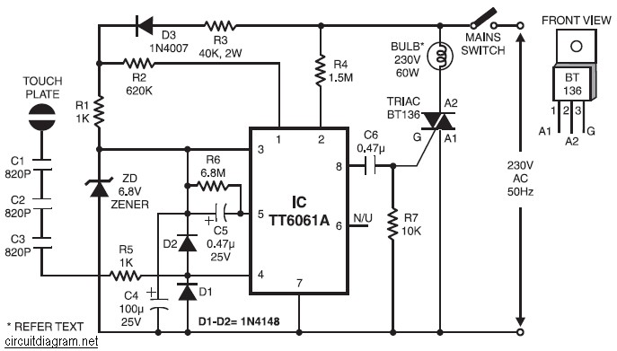 220V Lamp Touch Dimmer circuit diagram