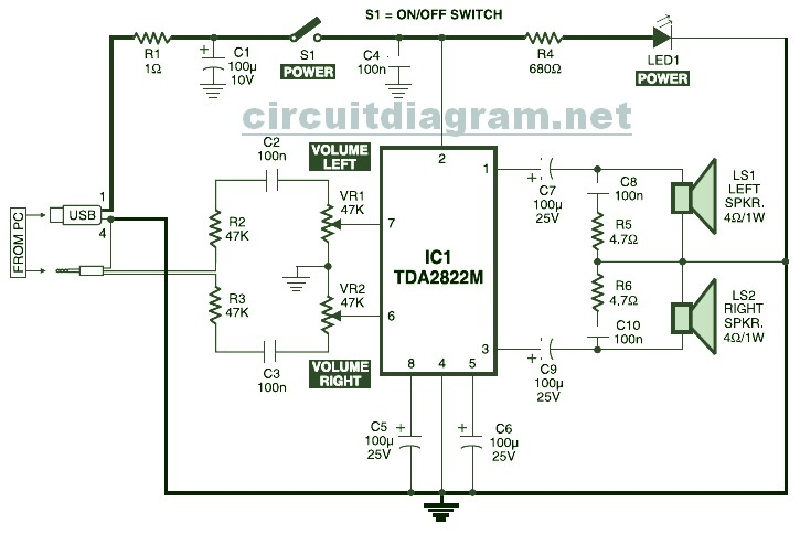 2x1w stereo amplifier ic ka2209 schematic design amplifier ka2214 · usb powered stereo computer speaker