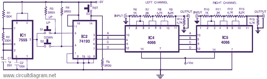 Stereo Digital Volume Control Schematic Design