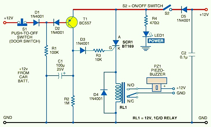Car Anti Theft Protection With Buzzer on 12v battery charger circuit simple