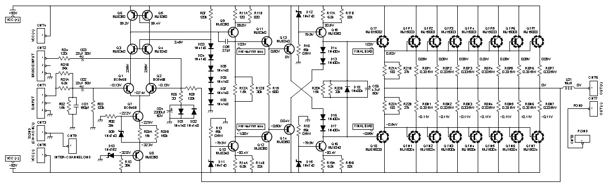 w class ab power amplifier   schematic design