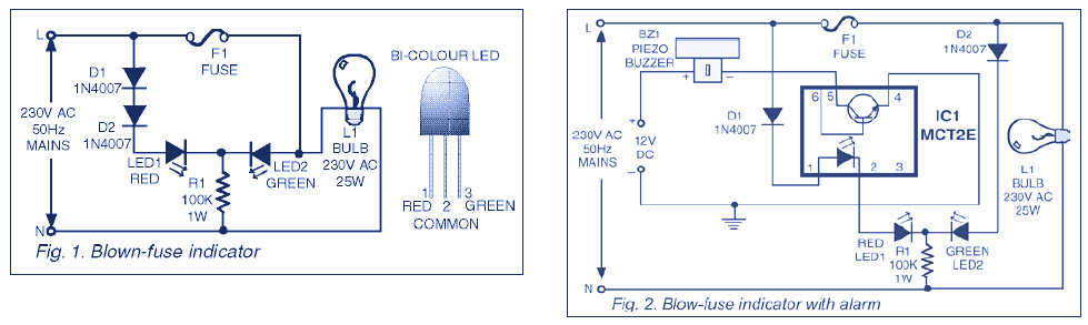 Indicator Circuit for Mains 220V Blown Fuse
