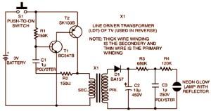 3v strobe light miniature schematic design